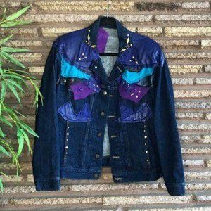 Vintage 80s Art to Wear Embellished Trucker Jacket